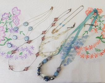 Six Vintage Necklaces Collection Lot, to wear or reuse beads