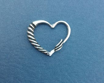 Floating Heart Charm In Sterling Silver
