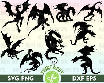 Dragon Digital, Dragon SVG, Dragon Silhouette, Animal Svg File, Dragon Clipart, Dragon Decal, Digital Dragon Vector, SVG Cutting File Dragon