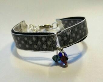 Black satin and organza White Ribbon Bracelet