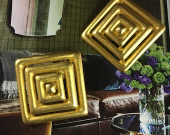 Vintage 80s Erwin Pearl matte gold square clip on earrings