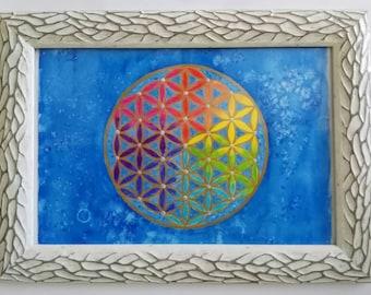 Watercolor original, mandala, flower of life