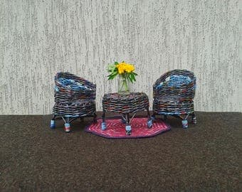 Paper wicker doll furniture set for fabric or rescued doll. Black and blue colors.