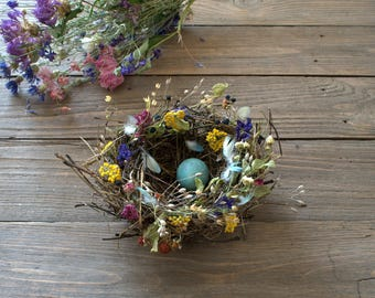 Real Natural Bird's Nest, decorated with dried flowers, natural décor, crafts supply, fairy or terrarium  decor, country decor,