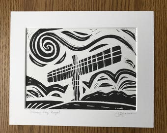Angel of the North Linocut (not framed)