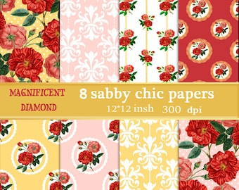 roses seamless paper, rose pattern paper, chic digital pattern, seamless roses, seamless patterns, digital paper chic, shabby roses paper.