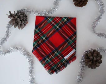 SANTA'S HELPER - plaid bandana, dog bandana, flannel dog bandana, frayed dog bandana, plaid dog bandana, grey dog bandana, pet bandana