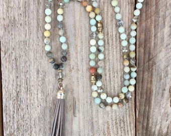 Waterdrop collection, large necklace boho chic grey leather tassel and amazonite stone