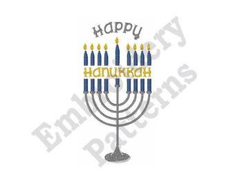 Happy Hanukkah Menorah - Machine Embroidery Design