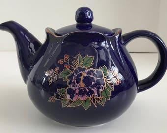 Vintage Cobalt Blue Floral Teapot with Gold Trim
