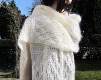 CLOUD - made to order - kid mohair and silk - openwork shawl woman hand knit scarf