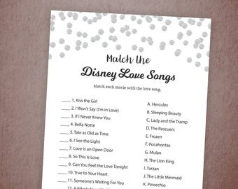 Disney Love Songs Match Game, Printable Bridal Shower Games, Silver, Match the Disney Love Songs, DIY, Instant Download, Disney Songs, A003