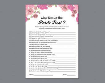 How Well Do You Know the Bride Game Printable,  Who Knows the Bride Best, Pink Floral Watercolor, Wedding Shower, Instant Download, A005