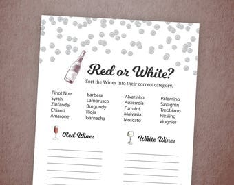 Red or White Wine, Bridal Shower White or Red Wine Game Printable, Silver Confetti Polka Dots, Guess the Wine Quiz, Bridal Shower, A003