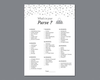 What's in Your Purse Bag, Bridal Shower Games Printable, Silver Confetti, Birthday Party Game, Girl Party, Purse Raid, Purse Hunt, A020