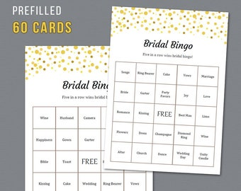 60 Prefilled Bridal Bingo Cards, Printable Bridal Shower Game, Gold Brown Dots Confetti, Unique Pre-filled Bingo Cards and Sheet, A015