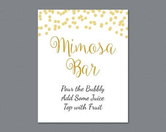 Mimosa Bar Table Sign, Bubbly Bar Sign, Cocktail Drink Sign, Gold Foil Confetti Wedding Sign, Baby Shower, Bridal Shower Decor, A004