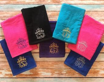 monogrammed beach towel monogram beach towel tiara beach towel monogrammed towel bridesmaids - Monogrammed Beach Towels