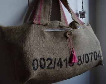 Burlap lining oversize tote bag cotton Pompom fuchsia zipper closure