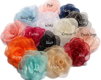 3.5cm Newborn Handmade Gauze Layered Hair Flower Vintage Rolled Rose Fabric Flowers for Kids Hair Accessories