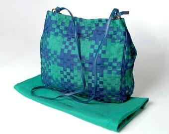 NEW! Bottega Veneta Vintage Intrecciato Large Woven Ribbon & Leather Tote Bag Green Blue