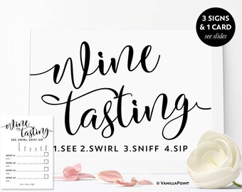 Wine Tasting Sign, Wine Tasting Cards Wine Tasting Party Decorations, Wine Tasting Bachelorette Party Decor, Wine Theme Bridal Shower Games