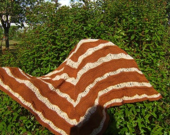 HAND KNITTED BROWN CHOCOLATE LACE PATTERN SHAWL