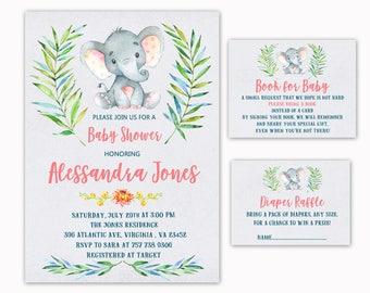 Elephant Baby Shower Invitation, + Book for Baby + Diaper Raffle, Jungle Safari invitation, Book for baby Diaper Raffle PACK