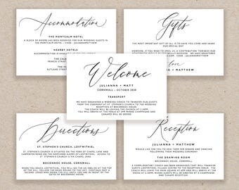 Enclosure Cards Template, Wedding Detail Cards, Accommodation Card, Directions Card Printable, Editable Detail Card Wishing Well - KPC10_104