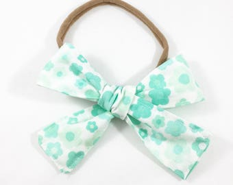Turquoise Flowers Bow