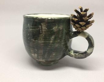 forest cup,unique,handmade ceramic mug,green, pottery, coffee or tea mug, handmade gift, kitchen, dining