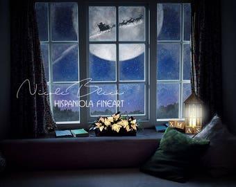 Christmas Window Background, Santa Reindeer Sled, Premade Backdrop, Santa Window, Fantasy Backdrop, Christmas Backdrop, Moon Backdrop