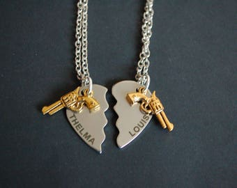 Thelma and louise best friends set of two necklaces