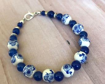 Blue Flower Bracelet, blue bracelet, flower bracelet, girl's bracelet, toddler bracelet, silver bracelet, gold bracelet,girl birthday gift