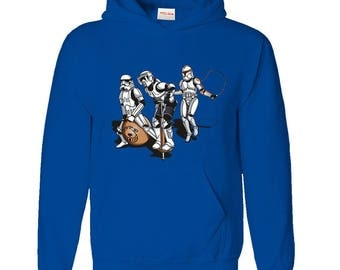 Inspired Funny Trooper Skipping Game Hoodie (Size - XXL, Main Colour - Blue)