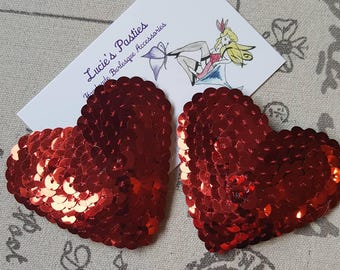 Red heart nipple pasties