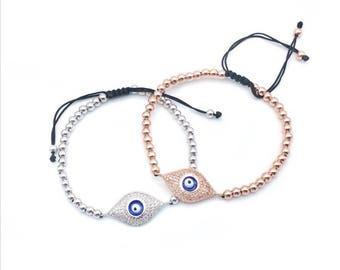 Evil Eye Bracelet, Evil Eye, Evil Eye jewelry, evil eye charm bracelet, evil eye beaded bracelet, rose gold bracelet, protection DB1455/12EA