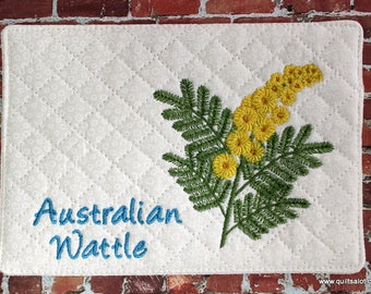 ITH Wattle 5x7 Mugrug and 4x4 Single Australian Floral Machine Embroidery Design