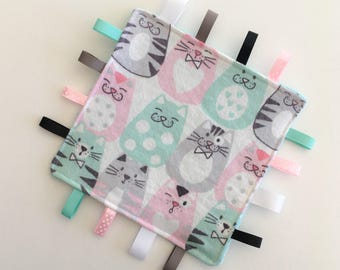Crinkle Taggie - Baby Girl Toy - Crinkle Tag Toy - Ribbon Blanket - Baby Fidget Blanket - Baby's First Toy - Baby Gift - Baby Shower Gift