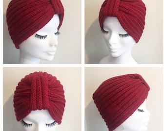 Made to order PIN UP TURBAN Vintage Inspired handknitted Turban 100% Virgin Wool (Merino)