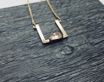 Modern square necklace, Geometric Necklace, Minimalist necklace, Necklace with stone, Bar necklace Gift for her, Rose gold everyday necklace