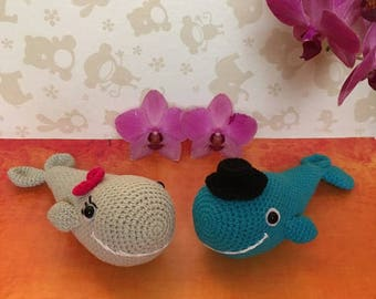 Crochet whales, wedding gift, gift for the couple, couple of whales, present wedding, wedding mementos, couple of animal, blue whale, whale