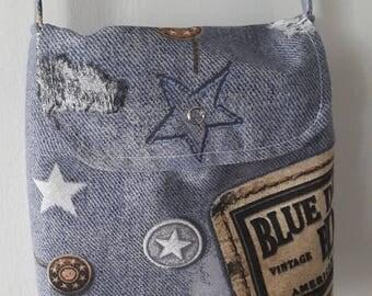 Printed Jeans canvas shoulder bag