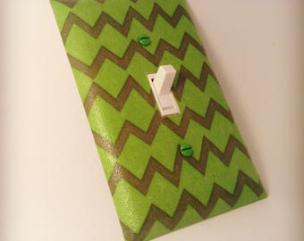 Fun Green Chevron Switchplate - Green Zig Zag Light Switch Cover - Baby Nursery Decor - Kids Room - Baby Room - Wall Decor - Home Decor