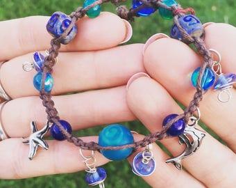 Moana inspired ocean themed blue beaded hemp bracelet