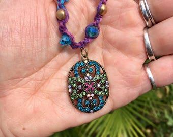 Blue and purple hemp necklace with golden czech glass beads green blue purple glass beads and vintage like pendant w/rhinestones