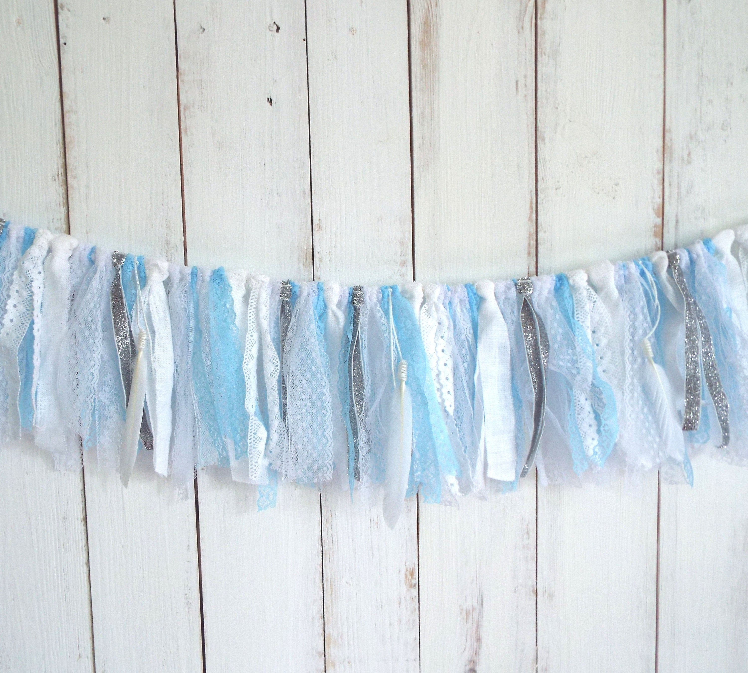 Garland white and blue lace, glitter silver, shabby chic banner ...