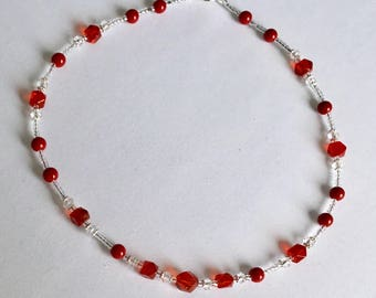 Red and crystal choker style necklace