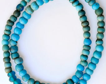 26 Inch Strand of Old Blue German Padre Beads - Vintage African Trade Beads - PA76