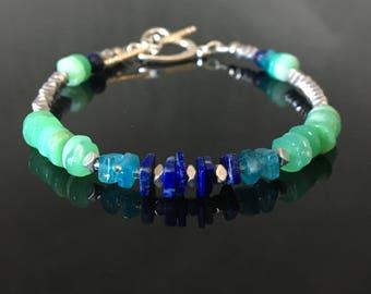 Blue Apatite Bracelet - Apatite Birthstone -  Lapis jewelry Bracelet - chysophase Bracelet
